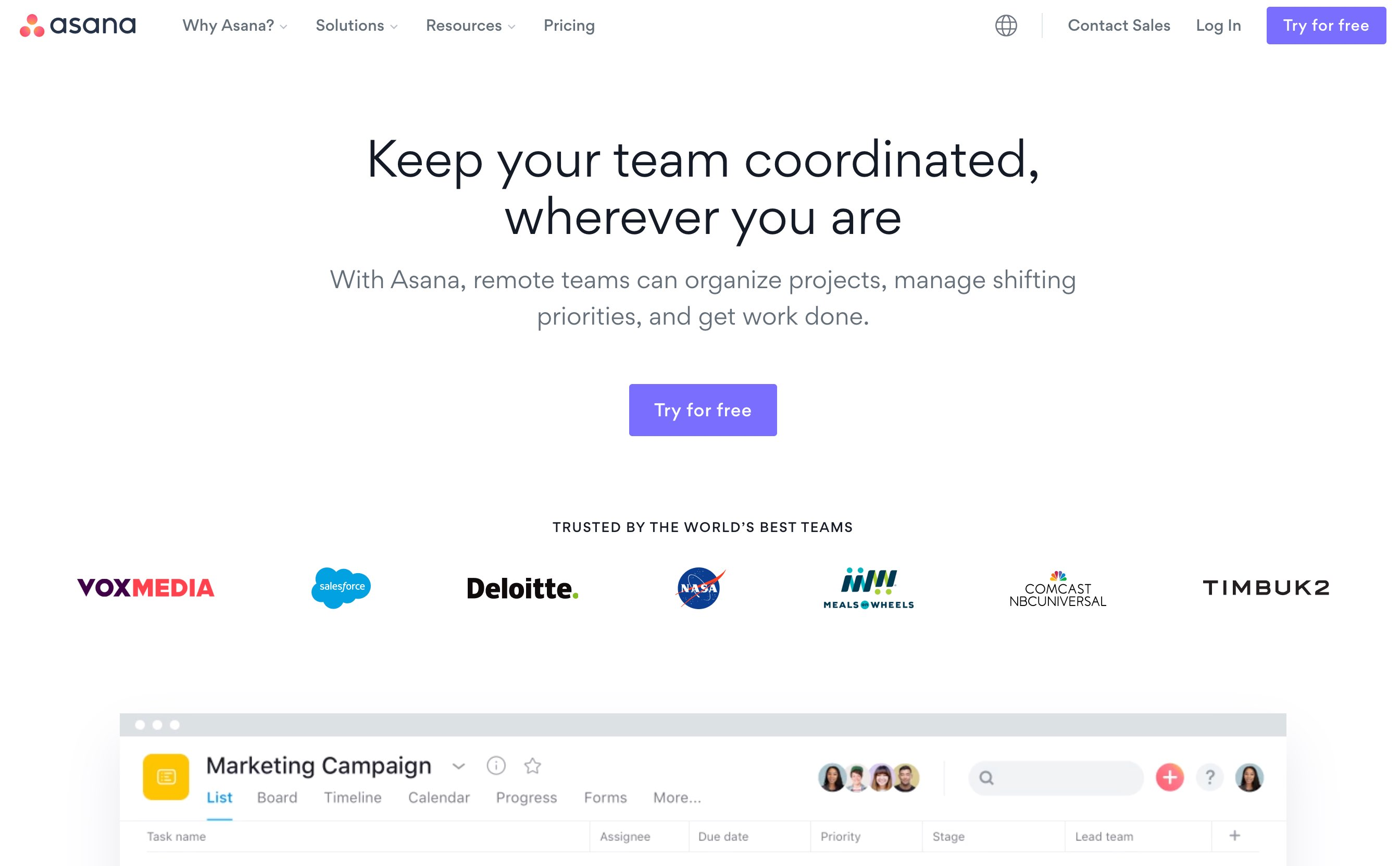 Asana homepage in August 2020