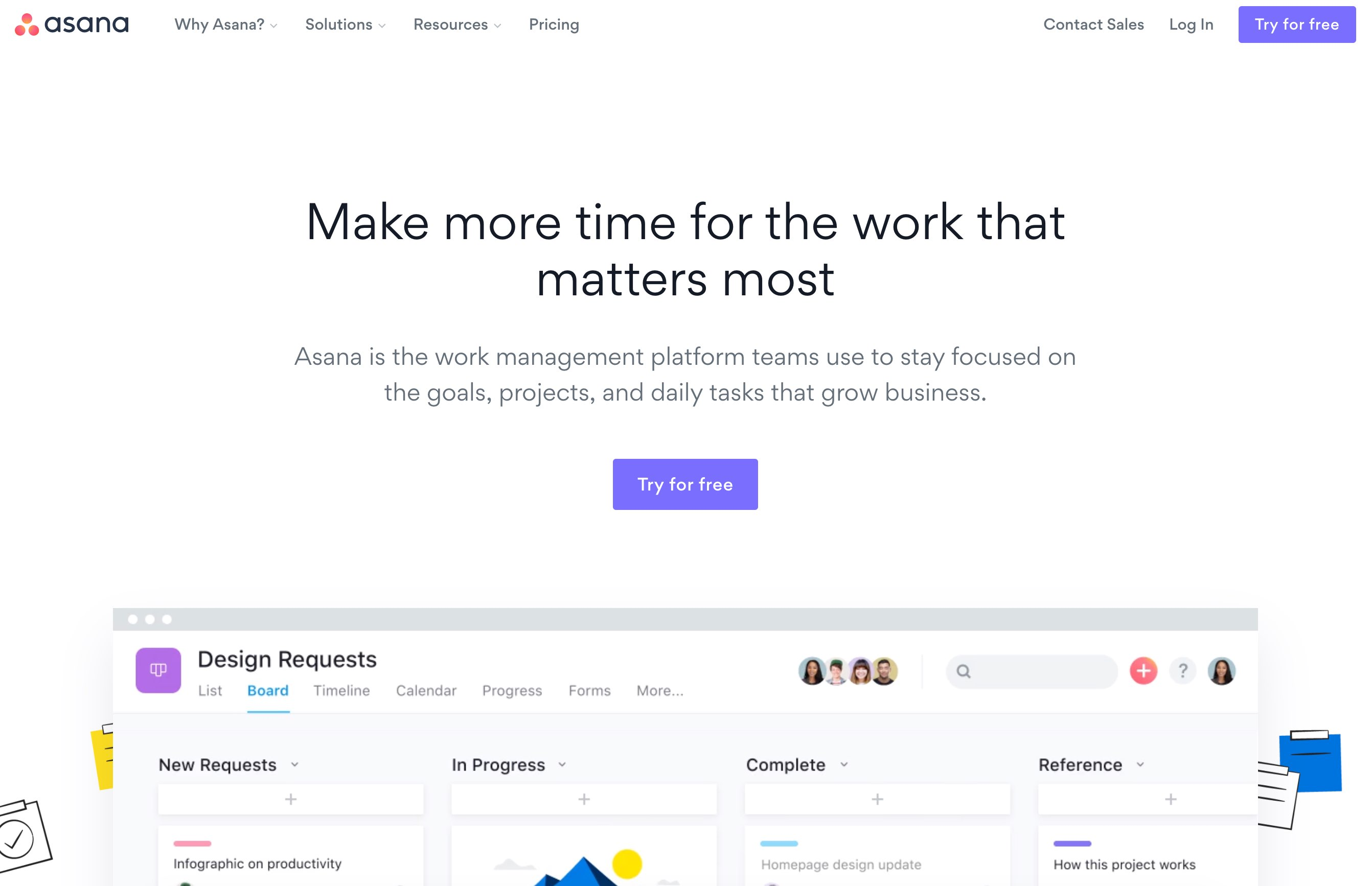 Asana homepage in January 2020