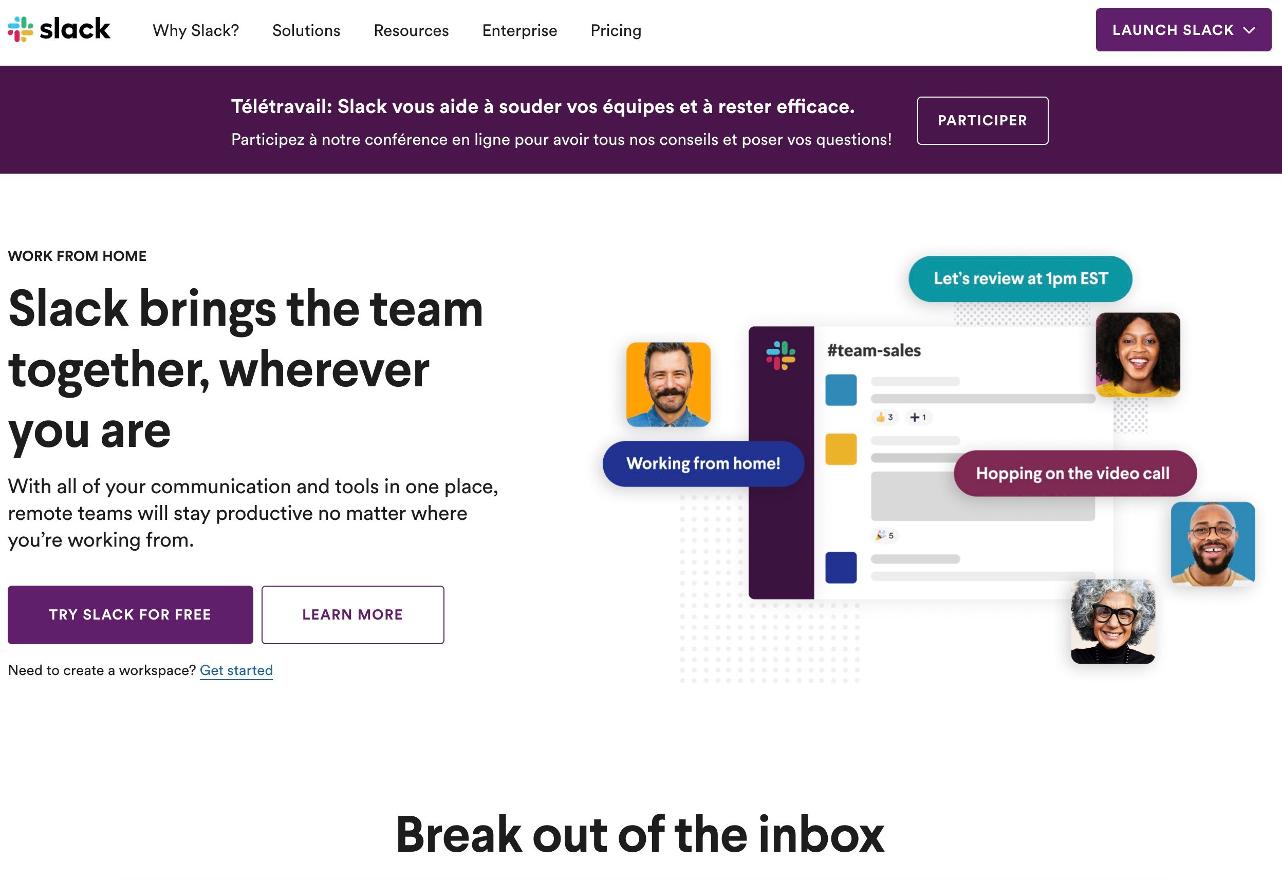 Slack homepage in August 2020