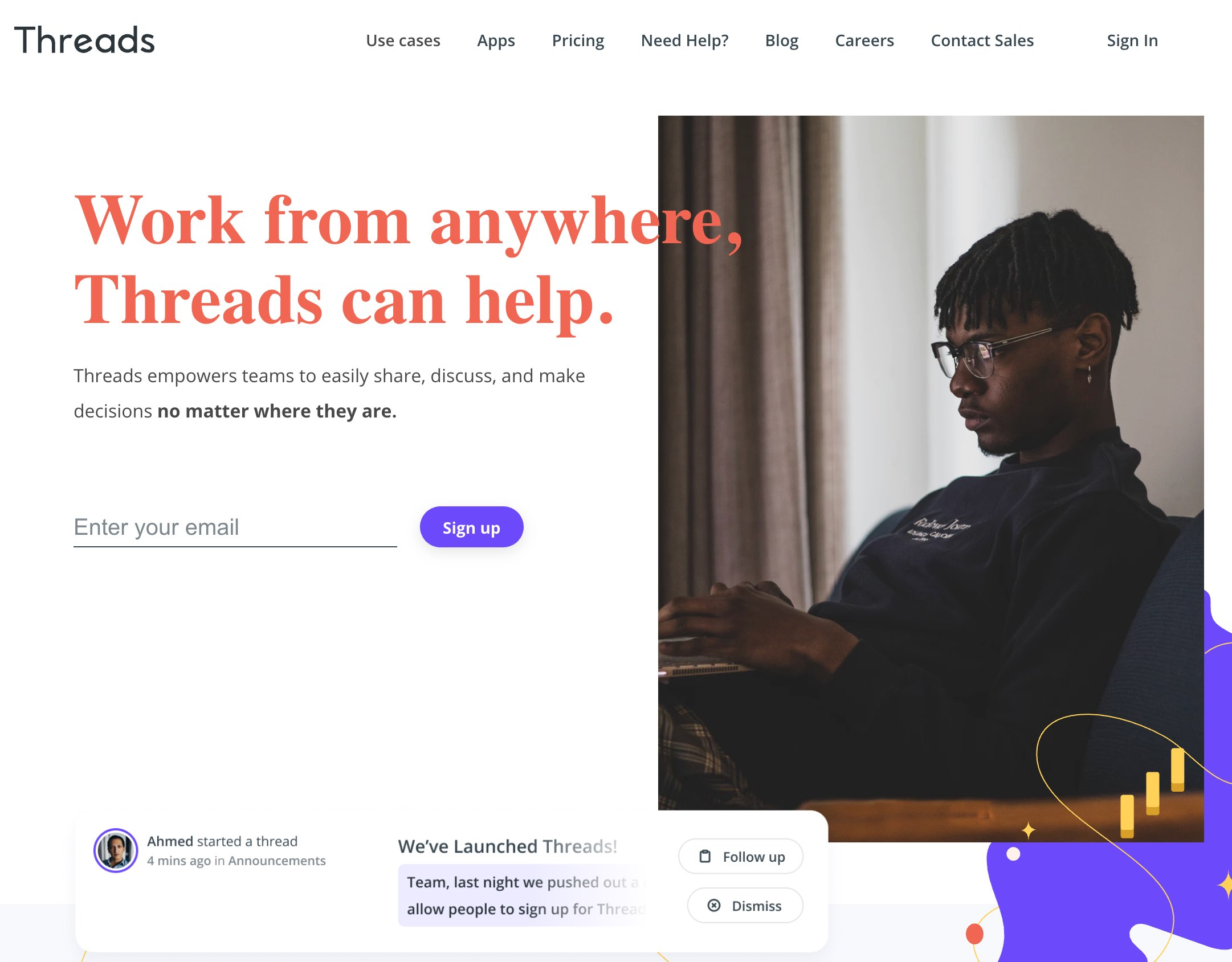 Threads homepage in August 2020